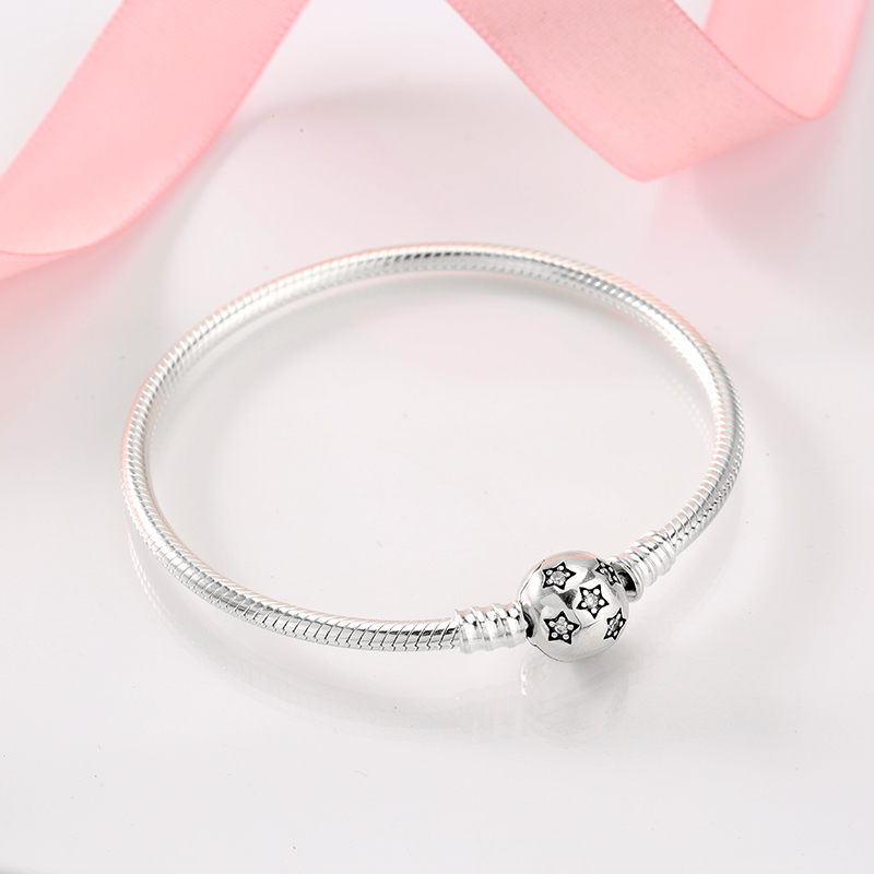 Image 3 - Authentic 100% 925 Sterling Silver twinkle Stars Snake Chain  Cubic Zirconia CZ Classic Womens bracelets Bangle DIY JewelryChain