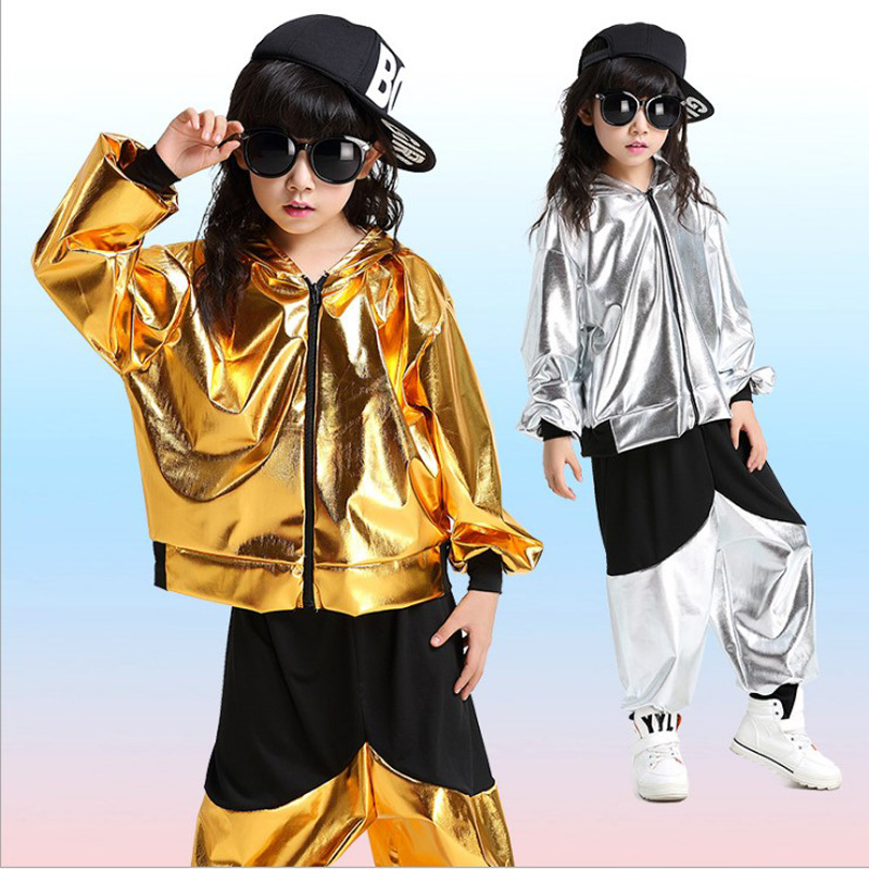 child girl boy performance gold silver Hip hop HIPHOP Jazz modern Ballroom break dance suit costume hooded costumes Pants adult