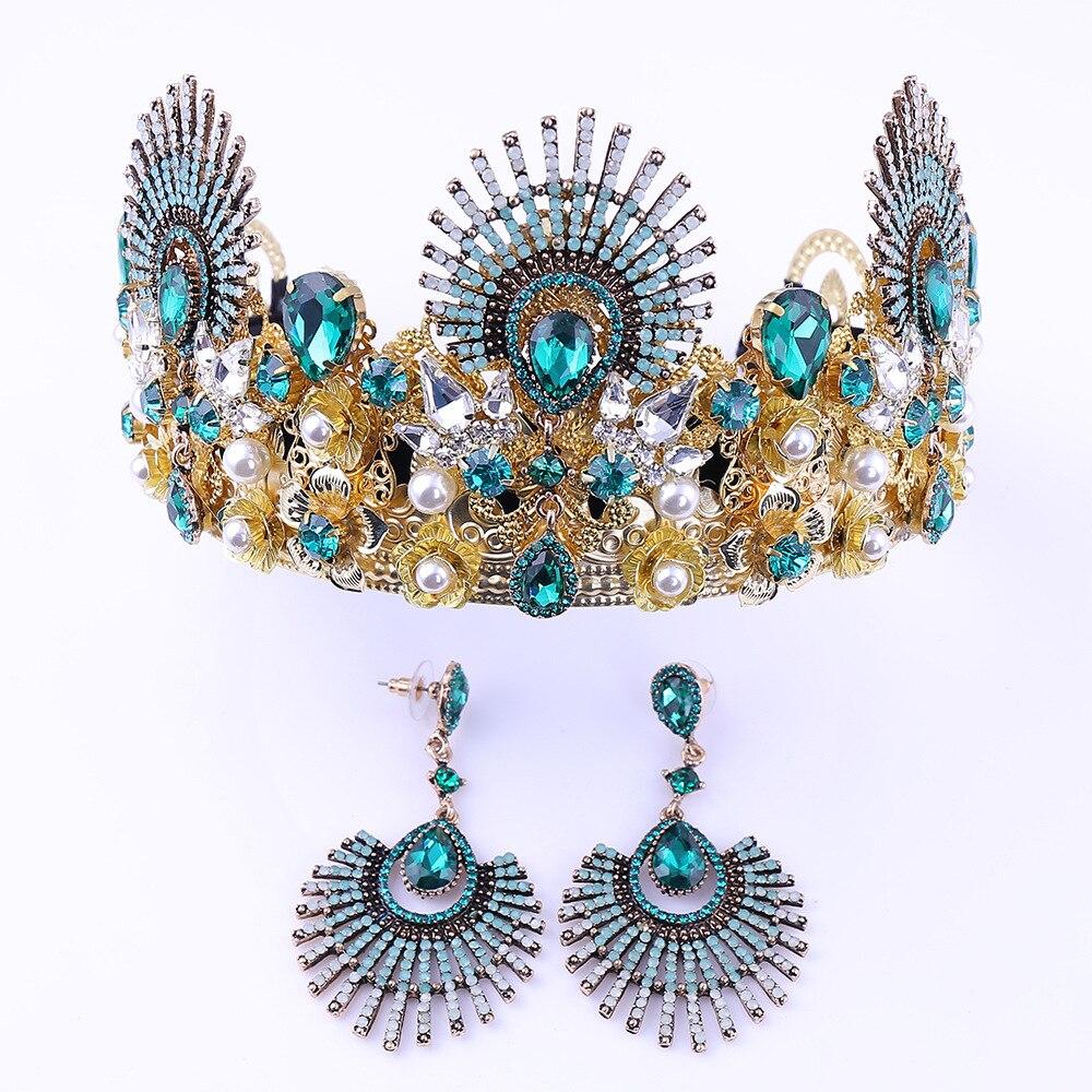 Boucles d'oreilles couronne de mariée ensemble européen et américain luxe Baroque strass coiffe de mariage couronne