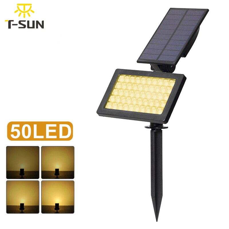 t sunrise holofotes solar ao ar livre iluminacao 50 leds ajustavel lampada luz impermeavel do diodo
