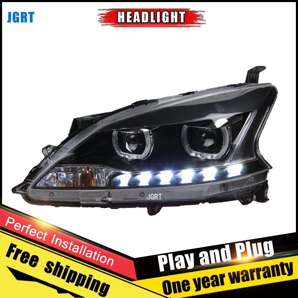2PCS Car Style LED headlights for Nissan Sylphy 12 15 for Sylphy head lamp LED DRL