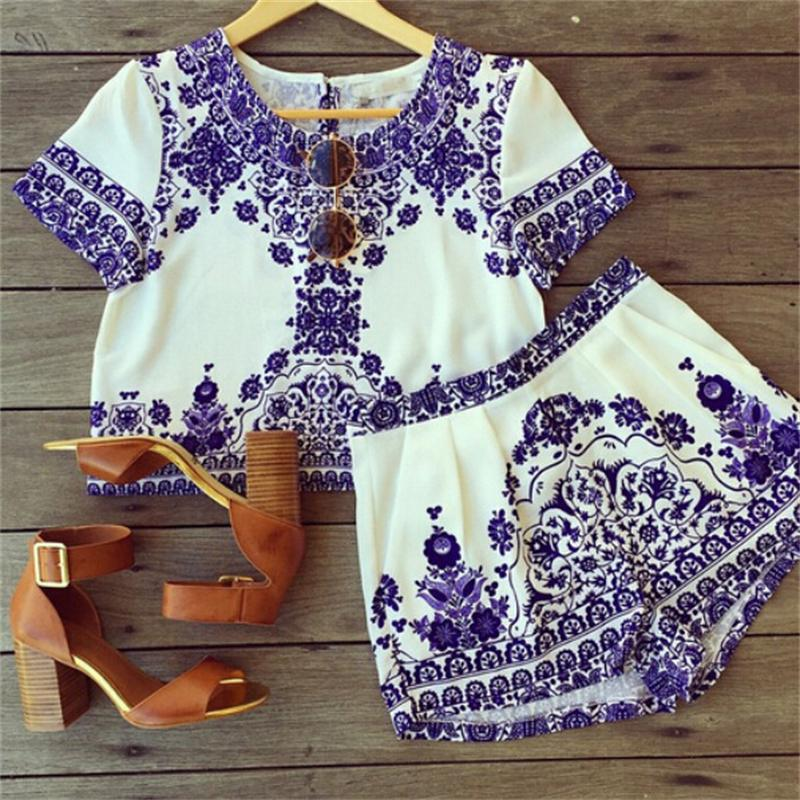 Women Casual Printed Blue White Porcelain Pattern Shorts 2016 Summer Sleeve Crop Top And Shorts Set Shorts
