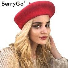 BerryGo invierno mujeres de lana del casquillo del sombrero Casual  streetwear negro casquillo de la boina fe330104774