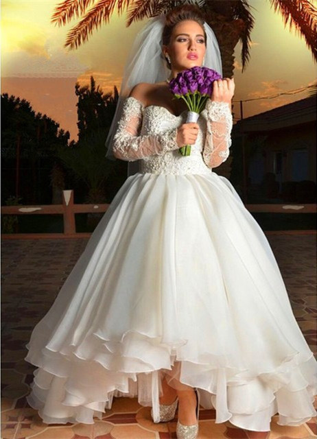 Wedding Dress High Low Off The Shoulder For Plus Size Organza ...