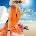 Лето солнцезащитный крем сплошной цвет шелковый шарф пляжное полотенце длинный дизайн весной и осенью мыс женский шарф осенью и зимой большой