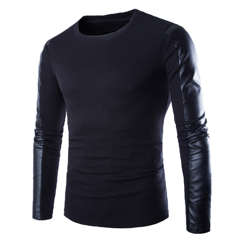 Brands Designer 2018 Spring Mens Sweaters Patchwork Long Leather Sleeve O Neck Jumpers Pullovers Male Christmas Sweater