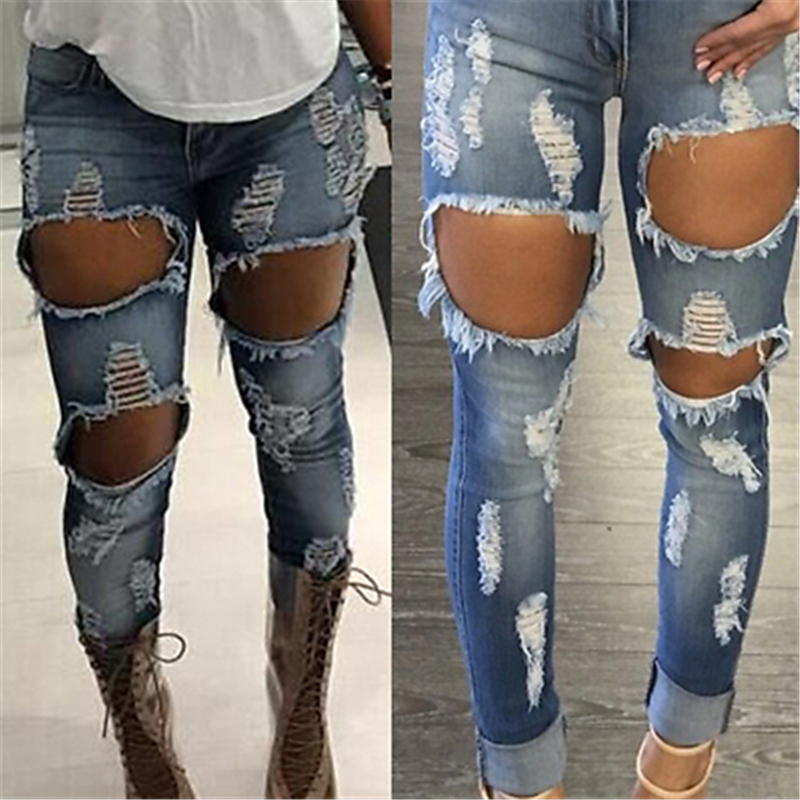24639a951893a1 Neue 2017 Hohe Taille Jeans Damen Denim Hosen Stretch Womens Bleach Ripped  Jeans Dünne Jeans Denim Jeans Für Mode Weibliche in Neue 2017 Hohe Taille  Jeans ...