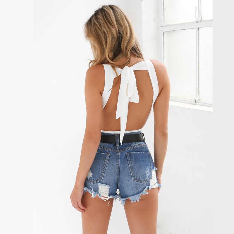 Forefair 2017 Сексуальная безрукавка с низким вырезом на спине женский боди-костюм комбинезоны модные комбинезоны облегающая пляжная одежда боди комбинезон