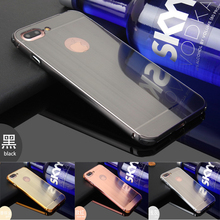 hot deal buy for iphone 8 plus 8+ brushed mirror back cover case for iphone 8 plating aluminum metal frame for iphone 7 7 plus case