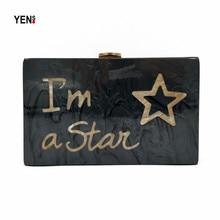 Women Messenger Bag Brand Fashion Wallet European Luxury Handbag Casual Black Letter Star Acrylic Clutch Elegant Evening