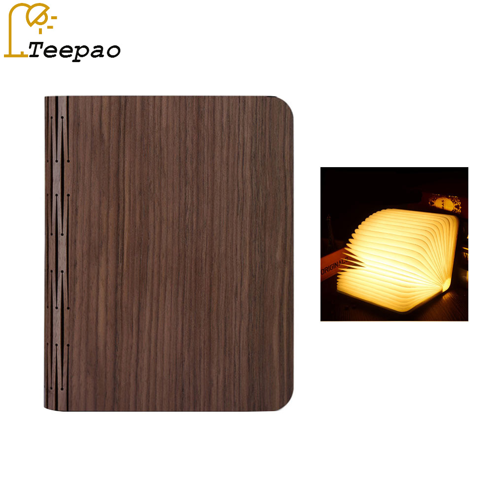 Creative Foldable Pages Folding Led Book Shape Night Light Lighting Lamp Portable Booklight Usb Rechargeable Table Book Light new fashion book shape led usb night light folding page book lamp home decor gift wood book lamp