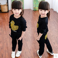 Girls clothes 2016 children's sports suit baby spring and autumn children's clothing printing jacket + trousers piece fitted 3