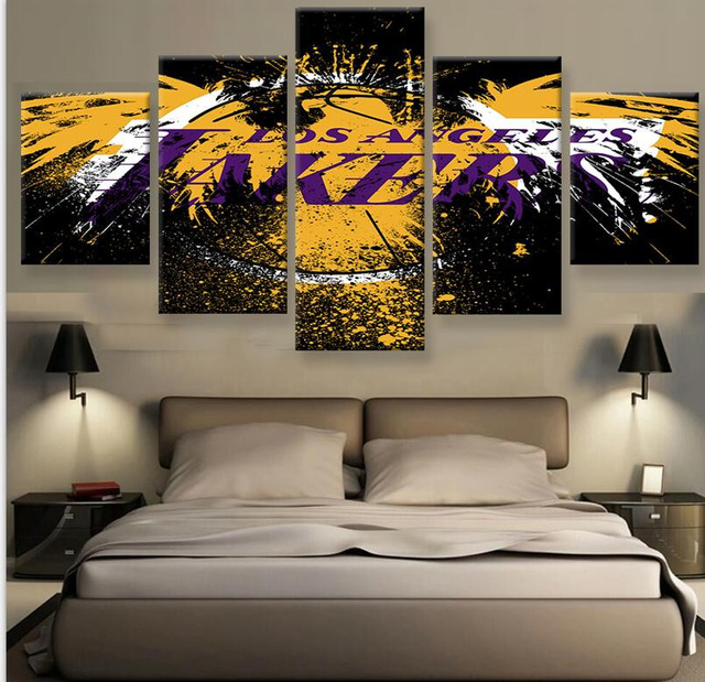 5 Pieces Set La Lakers Canvas Prints Hd Painting Wall Art Home Decor Panels Sport Poster For Bed Room