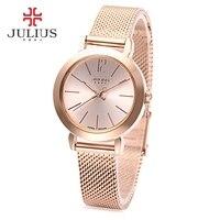 Julius ja-732 kadınlar kuvars İzle paslanmaz çelik net band işıltılı pointer kadın kol saati