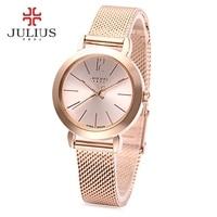 Julius JA 732 Women Quartz Watch Stainless Steel Net Band Luminous Pointer Female Wristwatch