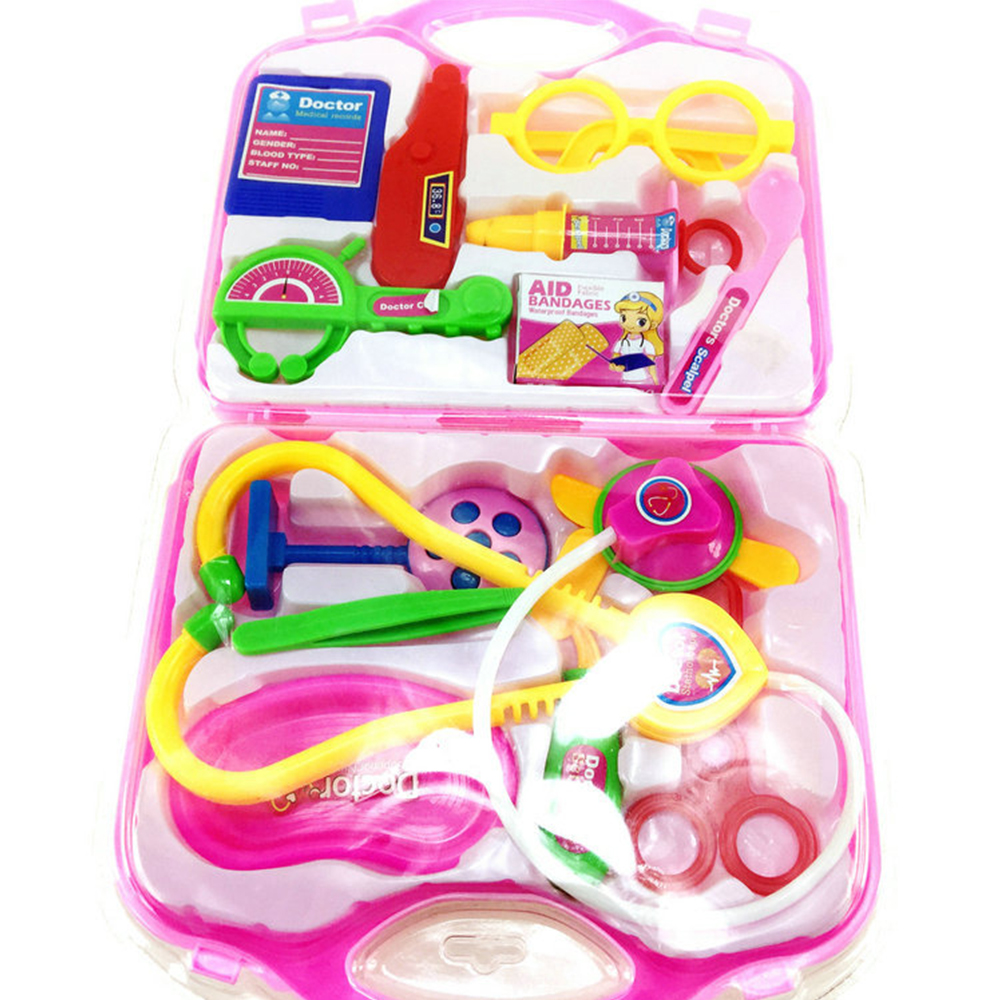 15 Pieces / Set Simulation Medical Kit Box Small Doctor Nurse Stethoscope Toy Set Portable Suitcase Medical Kids Classic Toys
