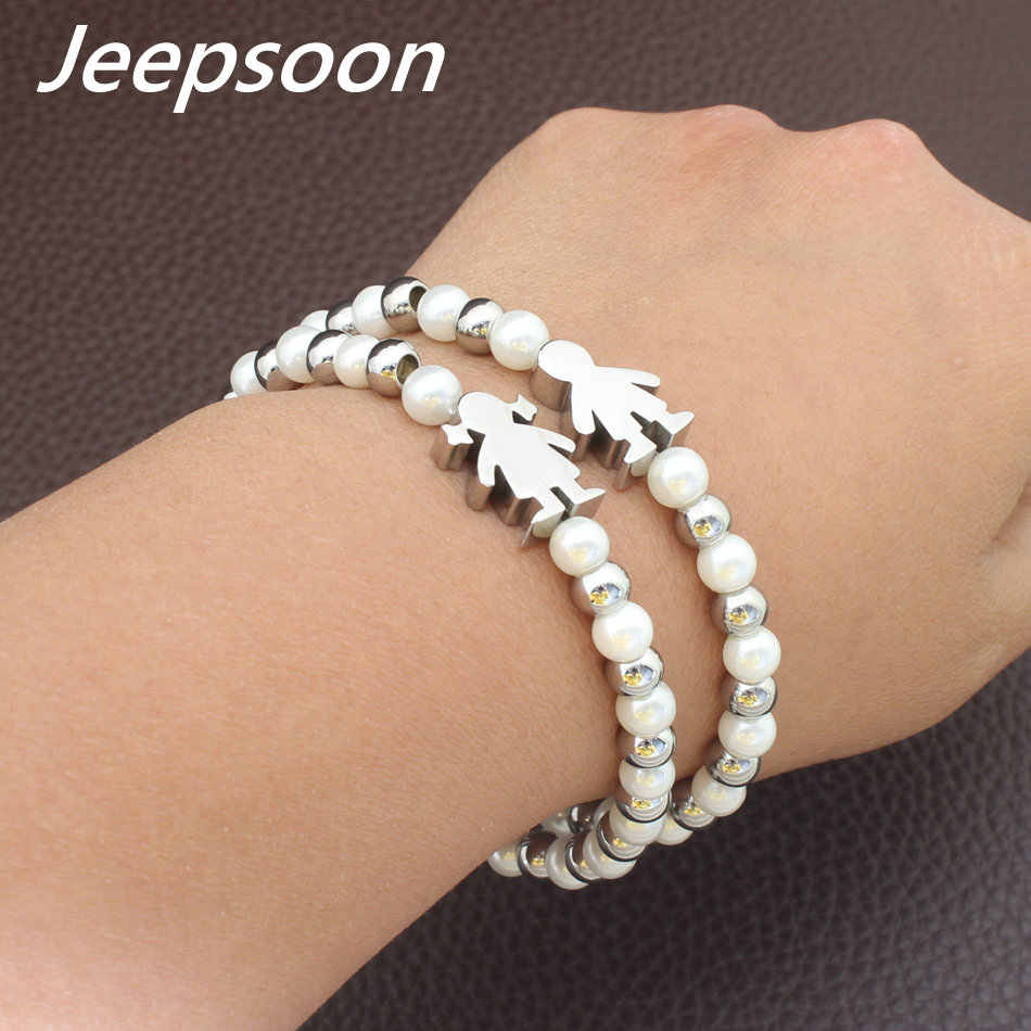 Wholesale Fashion Stainless Steel Jewelry Boy And Girl Figure Simulated Pearl Bracelet High Quality Jeepsoon BBJFBSBA