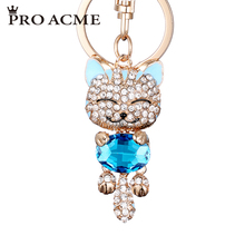 Pro Acme Fashion Enamel Lucky Cat Crystal Keychain Alloy Keyring For Women Party Gift Key chains
