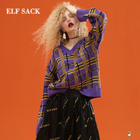 ELF SACK New Stylish Sweater Woman V Neck Plaid Full Women Pullovers Print Casual Oversized Sweaters Femme Chic Female Tops