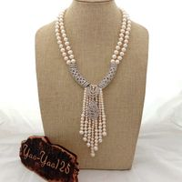 19'' 20'' White Pearl Necklace CZ Pave Pearl Pendant