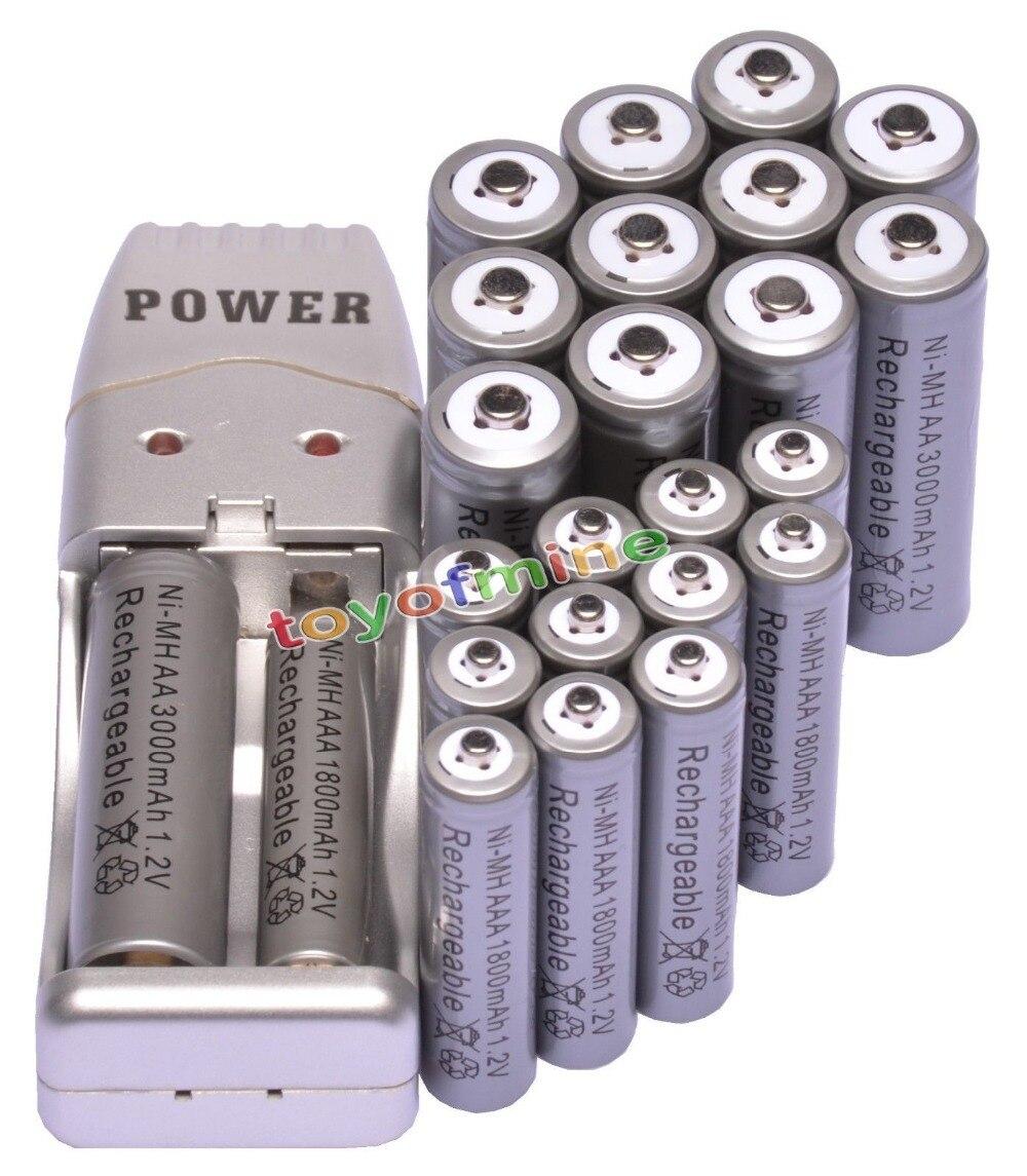 12 + 12 x AA AAA 1800 мАч 3000 мАч Перезаряжаемые Батарея 1.2 В серый + USB Зарядное устройство