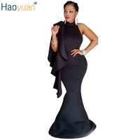 HAOYUAN Fashion Elegant Black Party Dresses Backless One Shoulder Ruffles Bodycon Dress 2017 Summer Women Pencil