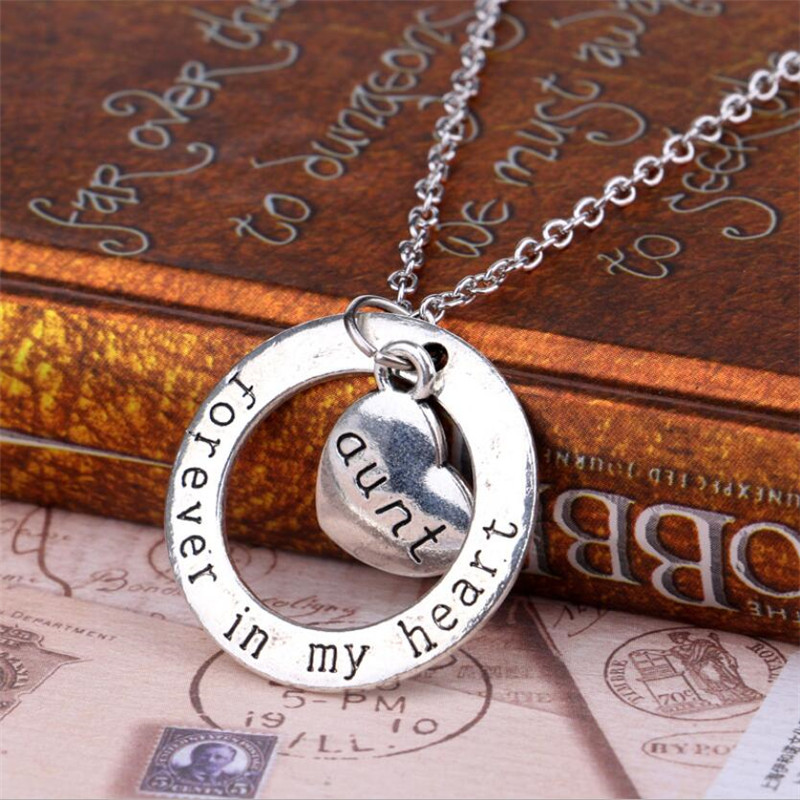 2016 Aunt Forever in My Heart Women Necklaces For Nephew Love Classic Necklaces Family Chrismas Gift Cheap