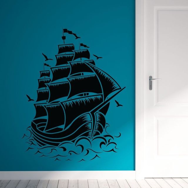 Nautical Sail Boat Pirate Ship Wall Decal Wall Stickers Room Home ...