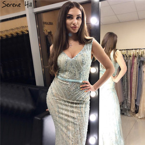 Image 5 - Luxury  V  Neck  Mermaid  Tulle Evening Dress Beading Hard working  Long Evening Gowns 2020 Serene Hill LA6049