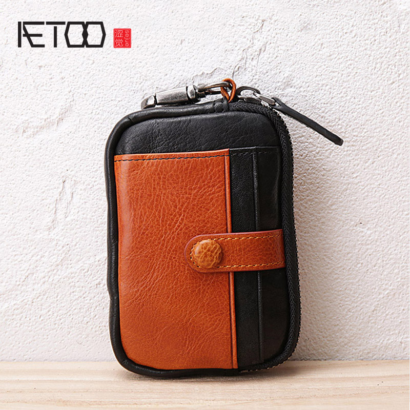 AETOO Retro hit color male lady Leather key bag multifunctional Baotou layer cowhide driver s license