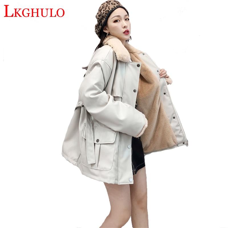 Women Long   Leather   Jacket Coat Female Winter Warm Fur Collar Plus velvet Faux PU Motorcycle Outerwear jaquetas feminina W685