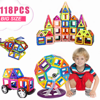 118PCS Regular/Big Size Magnetic Designer Building Construction Toys Set Blocks DIY Magnet Toy Educational Toys for Children