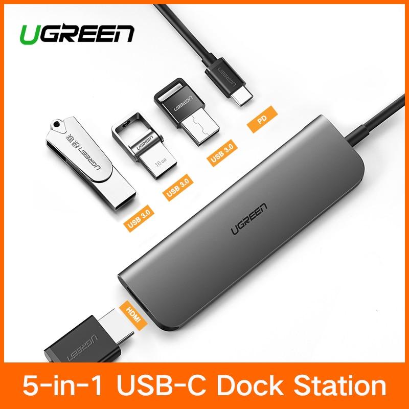 Ugreen tipo C adaptador USB-C a HDMI 3,0 HUB Dock para MacBook Pro Huawei P20/Mate 10 Thunderbolt 3 convertidor tipo C adaptador USB C