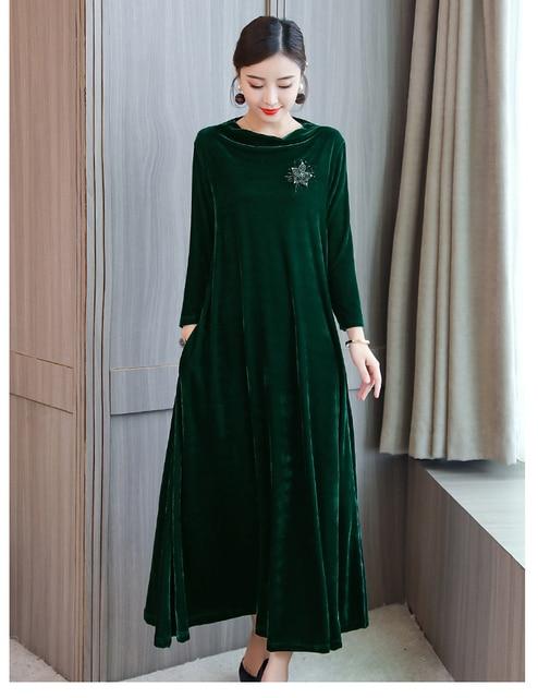 b91aefe4565 BOHOFREE Long Dress Evening Party O Neck Loose Pocket Maxi Dress Beading Velvet  Dress Female Plus
