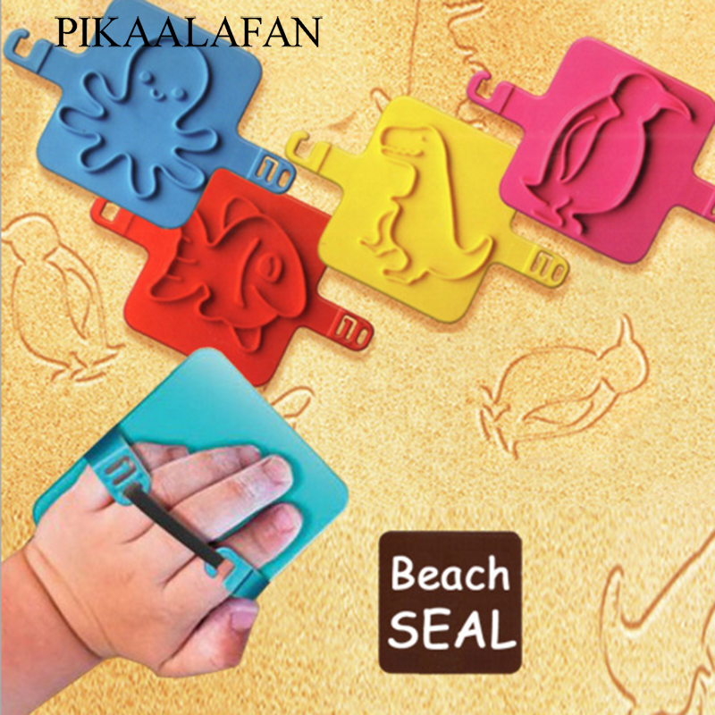 PIKAALAFAN Cute Kids Fun Beach Stamp Cartoon Animals Children Beach Seal Toy DIY Octopus Penguin Fish Dinosaur Stamp Child's Toy