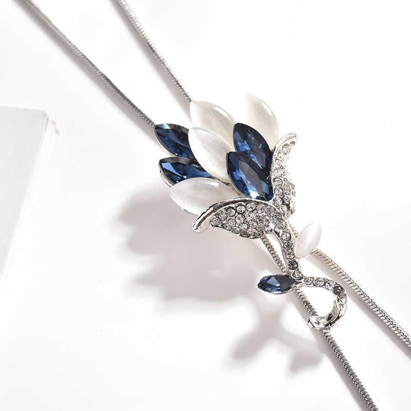 จี้สร้อยคอพู่อารมณ์คริสตัล Zircon ดอกไม้สีเทาปรับสีน้ำเงิน 1PC ยาวชุดอุปกรณ์เสริม