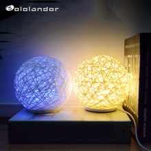 LED Night Light Moon Lamp Desk 7 Colorful USB Atmosphere Romantic Rattan Ball Home Decor Creative Gift Table Lamp Christmas Gift(China)