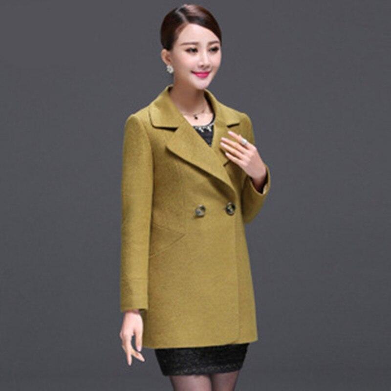 2017 new autumn middle size wool coat collar wool coat temperament V slim gir