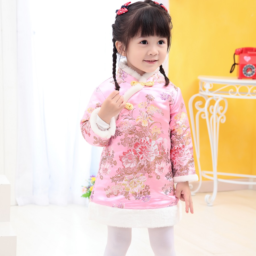 Floral Festival Baby Girls Dress Winter Quilted Warmer Girl Down Jacket Chi-pao Dresses Children Cheongsam Qipao Outwear Blouses pao motoring