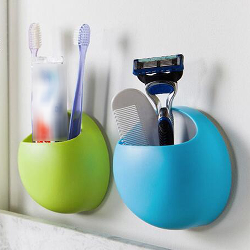 Cute Toothbrush Holder Suction Hooks Cups Organizer Bathroom Accessories Tooth Brush Holder Cup Wall Mount Set Bathroom Sucker image