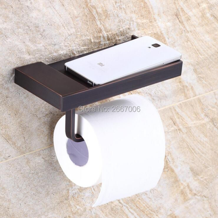 Free Shipping 2pcs Discount Gift Bathroom Antique Copper Black Square Toilet Paper Roll Tissue Holder Mobile Phone Holder ZR2325 black of toilet paper all copper toilet tissue box antique toilet paper basket american top hand cartons
