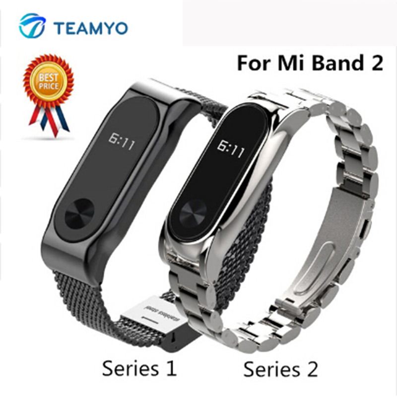 Teamyo Metal Replacement Wrist Strap For Xiaomi Mi Band 2 accessories mi-band-2 Stainless Steel Bracelet for mi band 2 strap