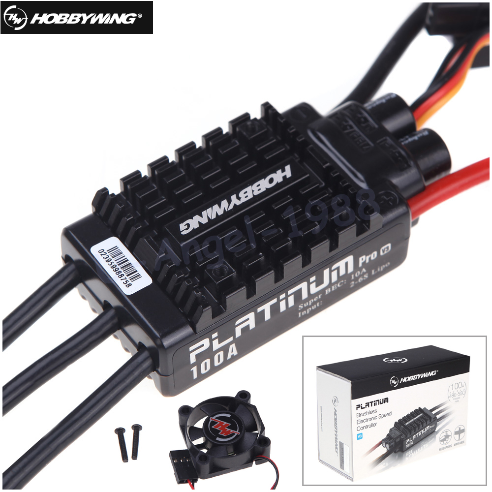 все цены на 1pcs Original HobbyWing Platinum 100A V3 RC Model Brushless ESC for Multicopter For Align TREX 550 600 700 RC Helicopter Fixed W онлайн