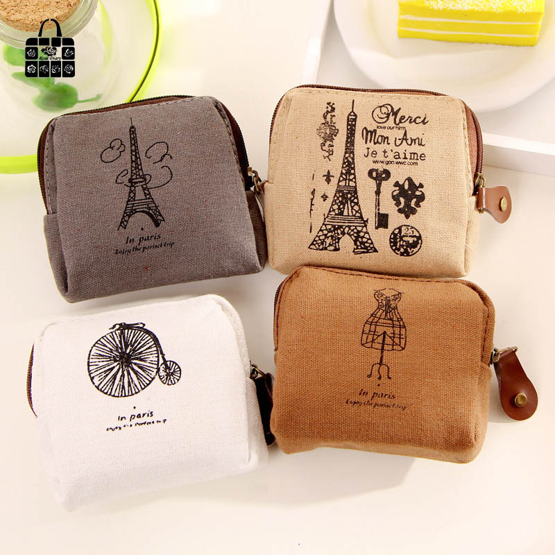 RoseDiary Coin purses,Restoring ancient ways Paris memory canvas coin purses child women change purse,lady zero wallets bag vintage paris coin purses packet nostalgia canvas coin bag