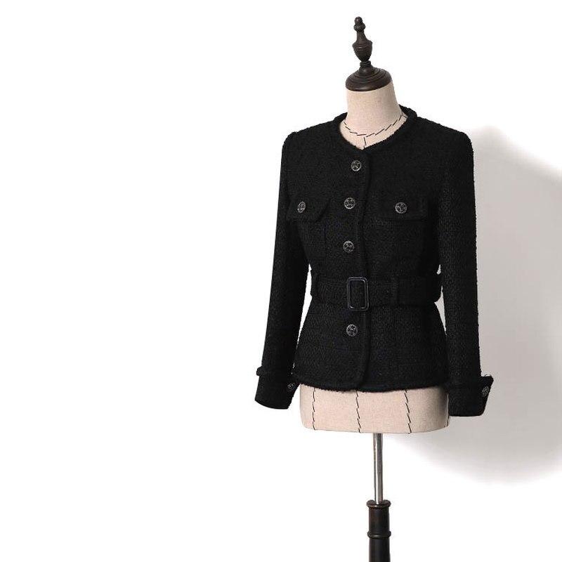 Для женщин Элегантный тонкий твид пальто 2019 Весна осень черный Однобортный пояса куртки пальто с круглым вырезом костюм пальто Y029