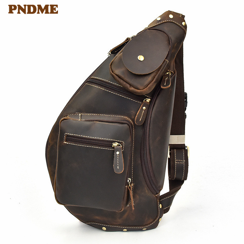 PNDME casual retro crazy horse cowhide men's chest bag multi pocket outdoor daily large capacity genuine leather messenger bags