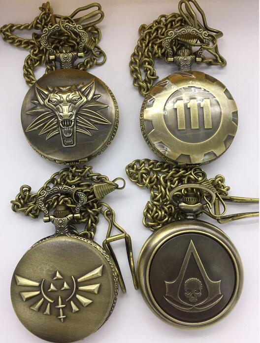 Free Shipping Wholesale 20PC A Lot 111 Wolf Skull Pocket Watch FOB Chain Watches