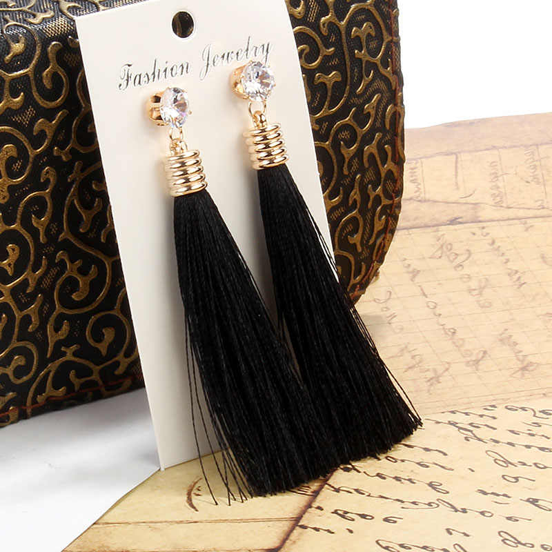 Berbeny Bohemian Long Tassel Earrings For Women Crystal Drop Earrings For Wedding Fashion Diverse Statement Party Jewelry 2019