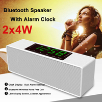 8W Wireless Portable Bluetooth Speaker Clock Alarm with LED Time Display for Android for iPhone With Alarm Clock FM Radio