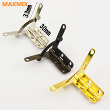 MAXMIX 33*30MM 10PCS  Miniature Furniture Hinges support Iron Spring Hinge Retro Jewelry boxs Hinge Antique Bronze Gold Silver